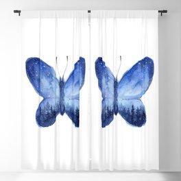 Blue Galaxy Butterfly Blackout Curtain