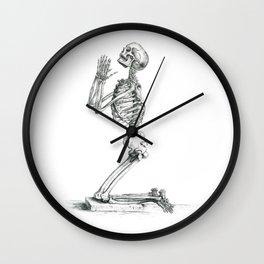 Vintage Praying Skeleton Graphite Anatomical Drawing Wall Clock