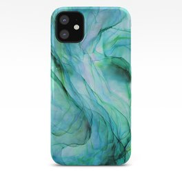 Sea Green Flowing Waves Abstract Ink Painting iPhone Case