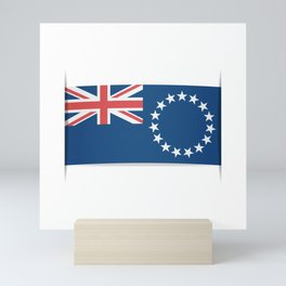Flag of Cook Islands. The slit in the paper with shadows. Mini Art Print