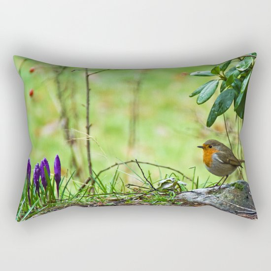 Robin in the spring Rectangular Pillow