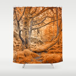Glowing Amber Forest Shower Curtain
