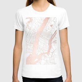 New York City White on Rosegold Street Map T-shirt