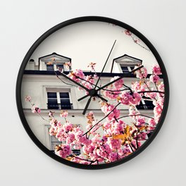 Paris House with Cherry Blossoms Wall Clock