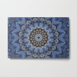 Blue Water Mandala Metal Print
