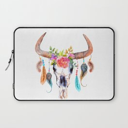 Cow Skull with Flowers Laptop Sleeve