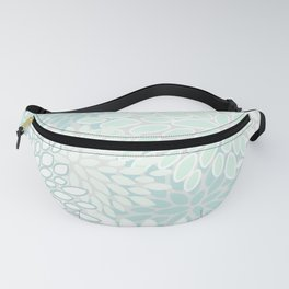 Festive, Floral Prints, Soft Teal, Mint Green and White, Modern Print Art Fanny Pack