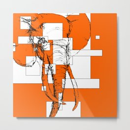 Orange is the New Elephant Metal Print