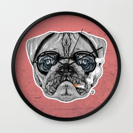 Intelectual Pug Wall Clock
