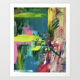 Excited: a vibrant, colorful, dynamic acrylic piece in various colors Art Print