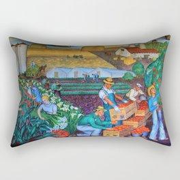 Coit Tower 'Orange Grove mural,' San Francisco, California Rectangular Pillow