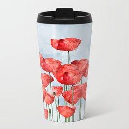 Poppyfield poppies poppy blue sky- watercolor artwork Travel Mug