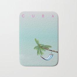 Cuba Hammock travel poster Bath Mat