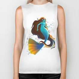 colorful mermaid swimming Biker Tank
