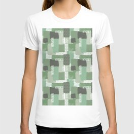 Olive Linen Abstract Color Block Pattern T-shirt