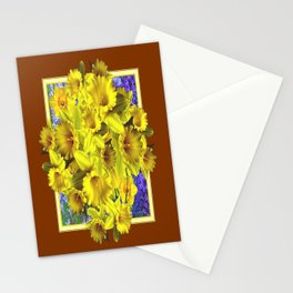 Decorative Golden Yellow Daffodils Coffee Brown Art Stationery Cards