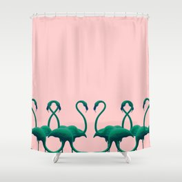 Flamingo dance_peach & melon Shower Curtain