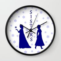sisters Wall Clocks featuring Sisters by BlackBlizzard