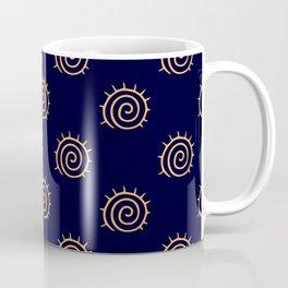 Navy Blue and yellow Swirl sun pattern Coffee Mug