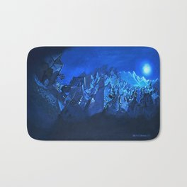 blue village Bath Mat