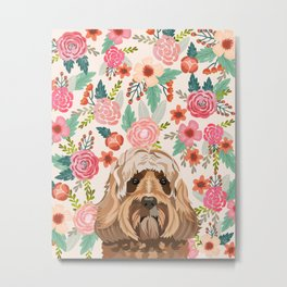 Labradoodle portrait floral dog portrait cute art gifts for dog breed lovers Metal Print