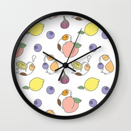 Guinea pig and fruits pattern Wall Clock