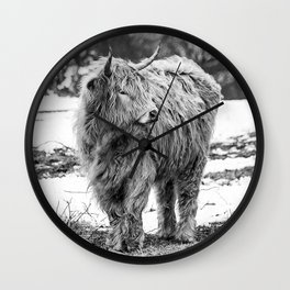 Highland Cow Black And White Wall Clock