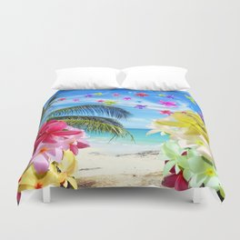 Tropical Beach and Exotic Plumeria Flowers Duvet Cover