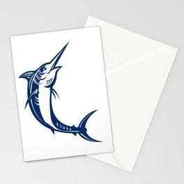 Blue Marlin Jumping Retro Stationery Cards