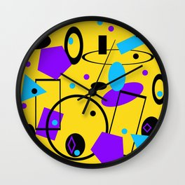 Retro abstract print yellow Wall Clock