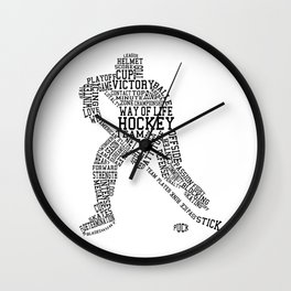 Hockey Words Wall Clock