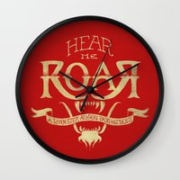 lannister Wall Clocks featuring Game of Type by Jango Snow