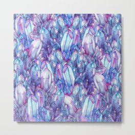 Blue Pink Quartz Crystals Metal Print