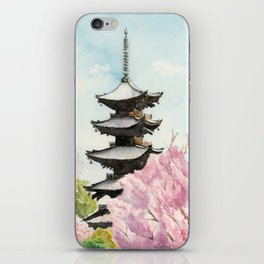 Japanese Temple Watercolor Painting print by Suisai Genki , To-ji, Kyoto , Sakura , Cherry blossom iPhone Skin