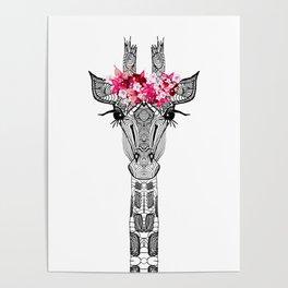 FLOWER GIRL GIRAFFE Poster
