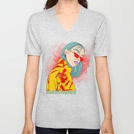 CUZ IM KOOL LIKE DAT - Cool Asian Female with Blue Hair Digital Drawing Unisex V-Neck