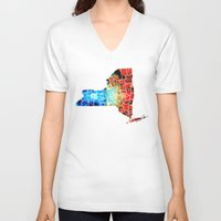 yankees V-neck T-shirts featuring New York - Map By Sharon Cummings by Sharon Cummings