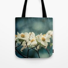 Spring Botanical -- White Dogwood Branch in Flower Tote Bag