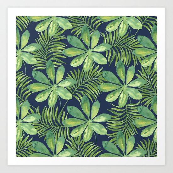 Tropical Branches Pattern on Dark 01 Art Print