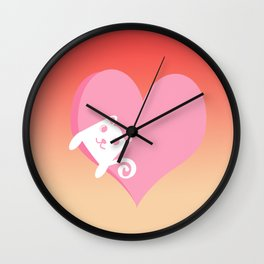White Cat at Sunset  Wall Clock