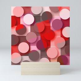 dots & squares red Mini Art Print