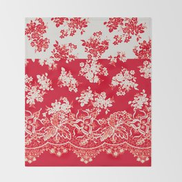 small bouquets in bright red with border Throw Blanket