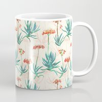 50s Mugs featuring Flowering Succulent Pattern in Cream, Coral and Green by micklyn