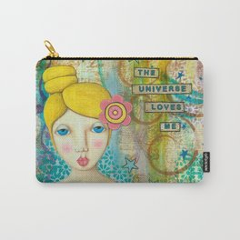 The Universe Loves Me mixed media art Carry-All Pouch