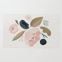 vintage flowers Area & Throw Rugs featuring vintage flowers; by Pink Berry Patterns