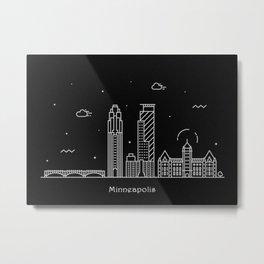 Minneapolis Minimal Nightscape / Skyline Drawing Metal Print