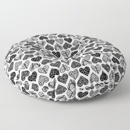 Wild Hearts in Black and White Floor Pillow