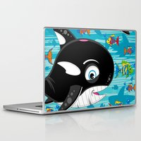 killer whale Laptop & iPad Skins featuring Killer Whale & Fish by markmurphycreative