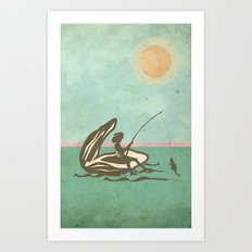 Boy fishing from Oyster Shell Art Print