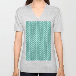 Turquoise Herringbone Pattern Unisex V-Neck